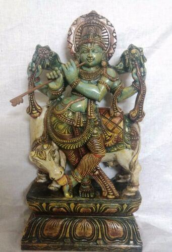 Hindu Temple God Krishna Sculpture Statue Handcarved Figurine Home Decor Murti