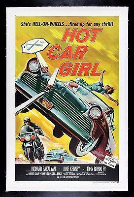 HOT CAR GIRL * CineMasterpieces 1958 AUTO DRAG RACING BAD ORIGINAL MOVIE POSTER