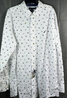 NAUTICA Men's Big & Tall Cotton Woven Long Sleeve Shirt. White NEW 3XL
