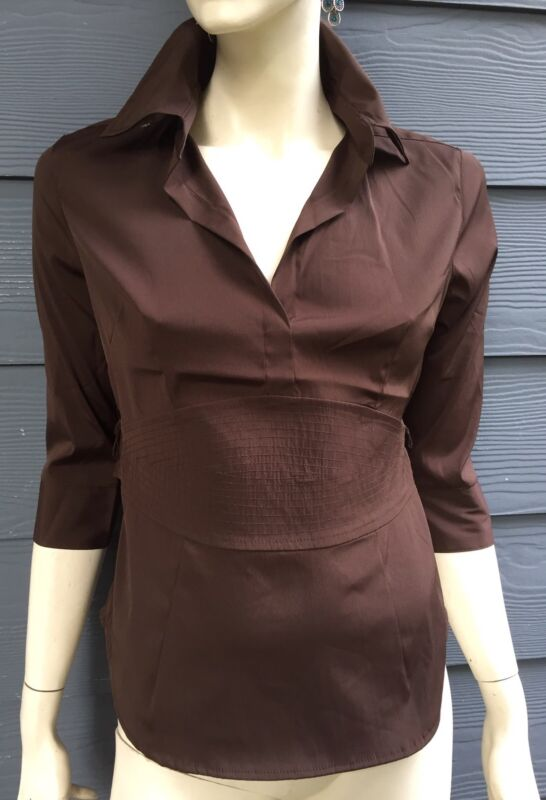 COTTON EXPRESS Women's Career Top Blouse Brown Stretch 3/4 Sleeve String Size S