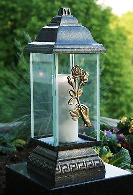 Grablaterne Grablampe Grableuchte Bronze Grabschmuck Rosenzweig inkl. Grablicht