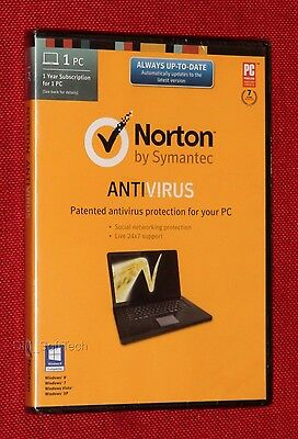 Brand New  Sealed  Norton Anti Virus Antivirus  With Cd Dvd  1 Pc  1 Year