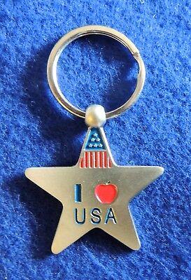 Star American Flag Triangle & I Love (❤️) USA Patriotic Metal Key Chain Ring New