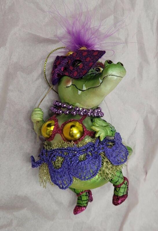 Alligator Dancing  Gator Glass Christmas Ornament Mardi Gras December Diamonds