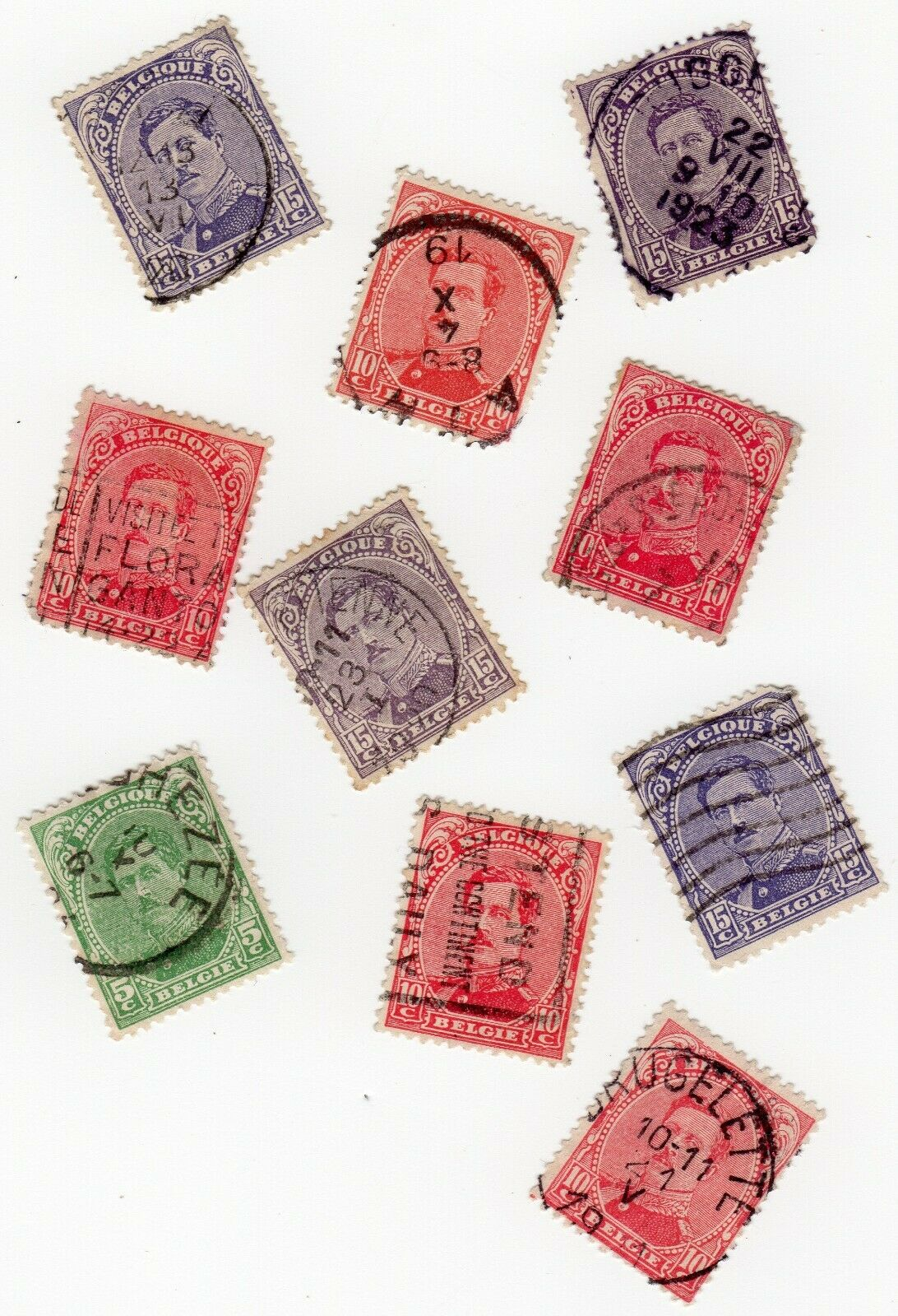 10 Used Postage Stamps From Belgium 1915 King Albert 5c 10c 15c - $1.00