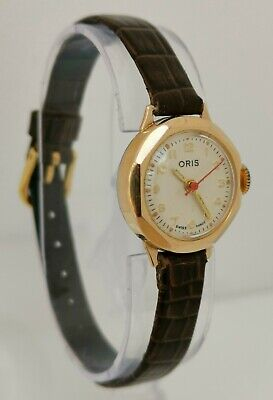Vtg 1960s Oris Cal 672 KIF Gold Plate Deco Ladies Wrist Watch Red Second Hand
