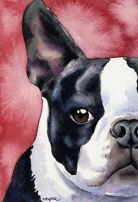 BOSTON TERRIER Painting Dog 8 x 10 ART Print Signed by Artist DJR