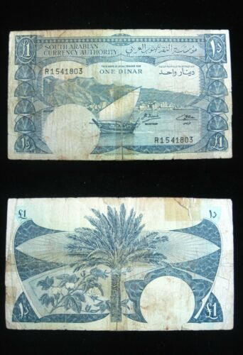 SOUTH ARABIA YEMEN 1 DINAR 1965 P3 SCARCE 03# BANK CURRENCY BANKNOTE MONEY