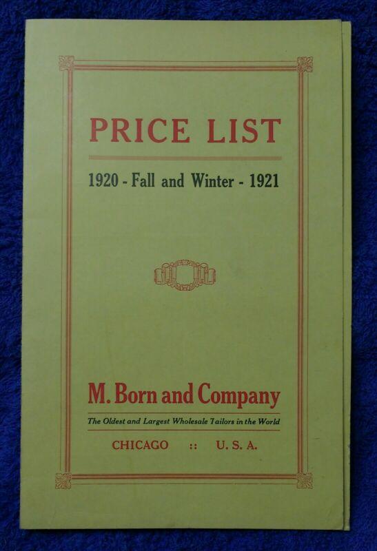 1920 Price List M. Born & Co. Tailors Men