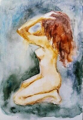 Women art Nude Female figure,nature lover best gift,original watercolor