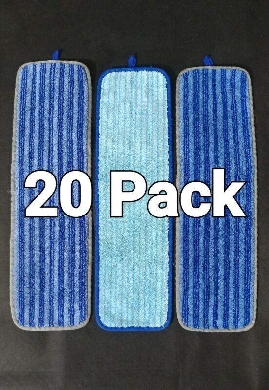 "20 Rubbermaid 18"" Microfiber Wet/Dry Rewashable Reuseable Mop Head Pads"