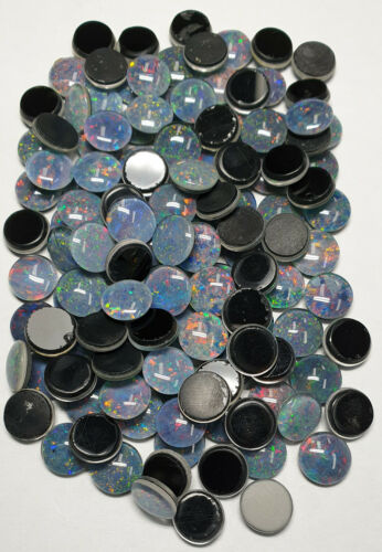 36 Pcs 9 mm Round Cut Opal Triplets Made in Australia from Natural Opal For Sale