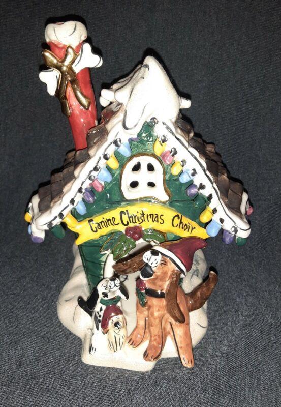 Blue Sky Heather Goldminc Canine Christmas Choir Tea Light Holder