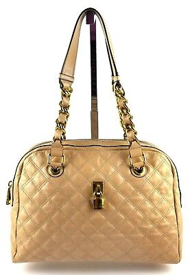 """Marc Jacobs """"Pink Petal"""" Quilted Leather Gold Tone Chain Link Shoulder Bag Purse"""