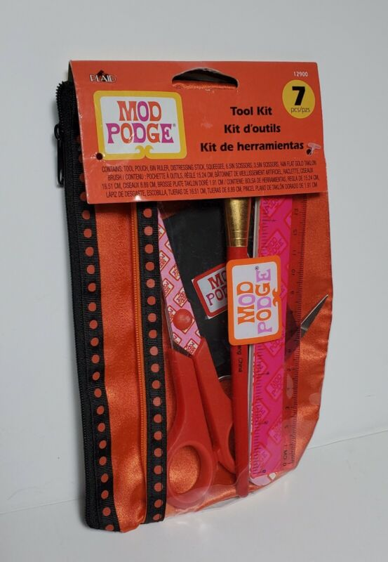 Mod Podge Tool Kit - Pouch Ruler Squeegee Brush 3.5 & 6.5 Scissors Stick - NEW