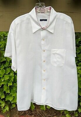 Burberry London Mens White Linen Short Sleeve Button Down Shirt -  XL