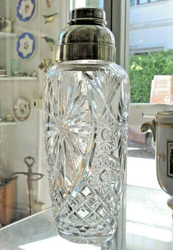 Cocktail Shaker Wilhelm Wolff Germany c 1930 Cut Glass and Silver Plate Cristall
