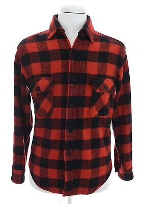 1940s Men's Shirts, Sweaters, Vests 1940s Wool Fox Knapp Button Up Buffalo Plaid Red Black Button Up Shirt Sz M Vtg $149.99 AT vintagedancer.com