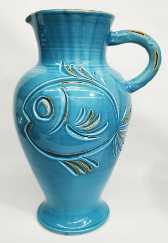 "Vietri Blue Fish Large 17"" Vase Pitcher Made in Italy"