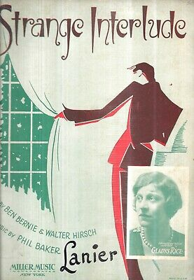 1932 SHEET MUSIC STRANGE INTERLUDE DECO DESIGN ILLUSTRATED PRINT GIFT IDEA  ()