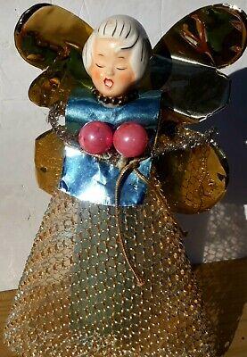Vintage Holt Howard Porcelain Head Christmas Angel Tree Topper Cone Body Nice