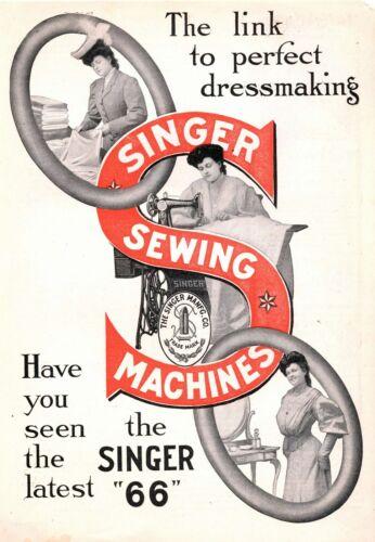 Singer Sewing Machines  -  Singer 66  -   Circa 1910  Advertisement