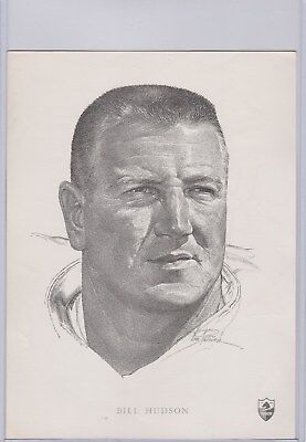 1962 Union Oil Bill Hudson 6X8 Card San Diego Chargers 1208