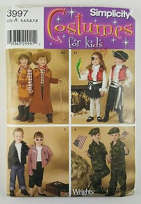 Simplicity Costumes Twins Siblings Pattern 3997 Sizes A 3-8 Boys Girls UNCUT
