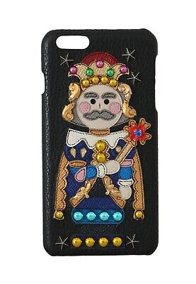 NEW $600 DOLCE & GABBANA Phone Case Black Leather King Applique iPhone6 Plus
