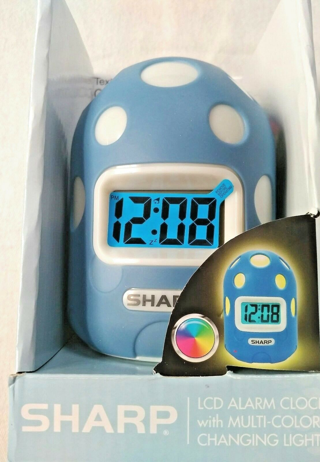 Clock Sharp Textured Case Color Changing Alarm light Battery Backup Snooze LCD
