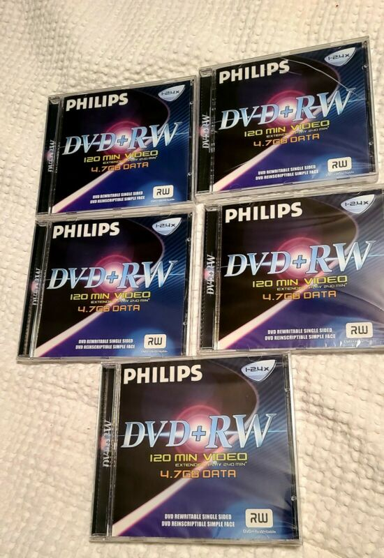 5 Philips DVD + RW 120 Minutes Video Extended Play 240 4.7GB Data Single Sided