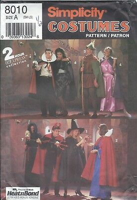 Simplicity 8010 HALLOWEEN COSTUME Pattern VARIETY CAPE TUNIC Miss Men Teen S-M-L