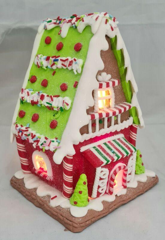 "Gingerbread House Candy Stripe Green Red LED Light Up Claydough 7"" Kurt Adler"