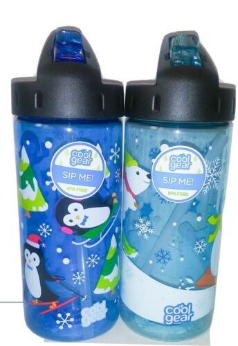 Cool Gear BPA Free 16oz Winter Themed Water Bottles. Lot of