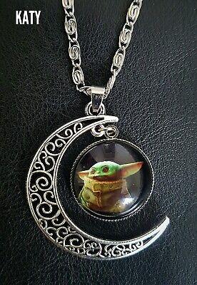 Baby Yoda Star Wars Mandalorian Pendant Silver Chain Moon Necklace Gift