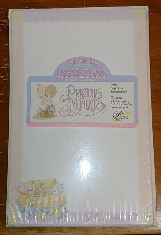 NEW IN PKG 12 Card/Envelope Precious Moments Print Your Own Baby Shower Noah Ark