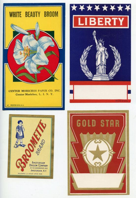 10 Original Old Broom Labels Vintage Condition All Different Nice Mint Set (A