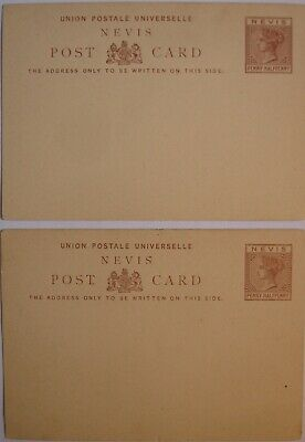 Nevis: Victoria 2x 1½d mint Postcard.
