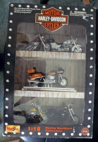 2000 MAISTO 1:18 HARLEY DAVIDSON COLLECTION #32058 NIB 5 MOTOR CYCLES