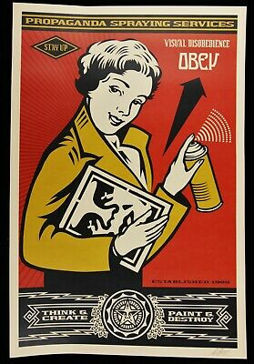 SHEPARD FAIREY STAY UP GIRL LARGE OFFSET SIGNED OBEY GIANT MINT