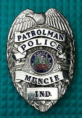 ORIGINAL USA POLICE BADGE Abzeichen MUNCIE/IND. - RARITÄT  ca. 35 Jahre alt!!!