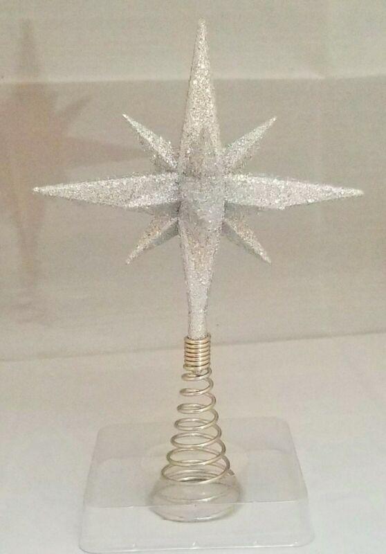 "Moravian Star Tree Topper Small Silver Christmas Acrylic 6"" Kurt Adler"