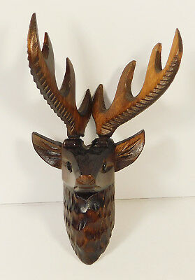 Cuckoo Clock Wooden Deer Head With Wood Antlers 2 3/8 Germany Hand Carved
