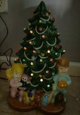 "Vintage 15"" Ceramic Light Up Christmas Tree w/ Boy Girl Toys under Tree 1979"