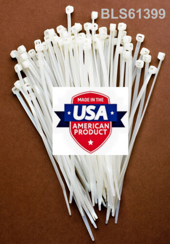 """100 USA Made TOUGH TIES 6"""" inch 40lb Nylon Tie Wraps Wire Cable Zip Ties White"""