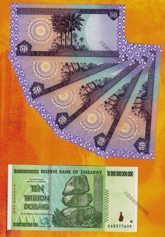 10 Trillion Zimbabwe Dollars AA 2008 + 5 x 50 Iraq Dinar Banknotes Rare UNC Set