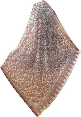 Large Paisely Grey on Beige Jamavar Shawl Wrap Woven on Fine Wool Floral Kani for sale  Shipping to India