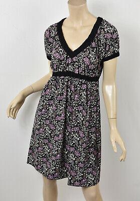 BCBG MAXAZRIA Purple & Black Art Deco Floral Print Matte Jersey Empire Dress XS Art Deco Floral Print