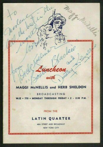 1940s LATIN QUARTER NYC Menu Signed by DICK KOLLMAR and DOROTHY KILGALLEN Radio