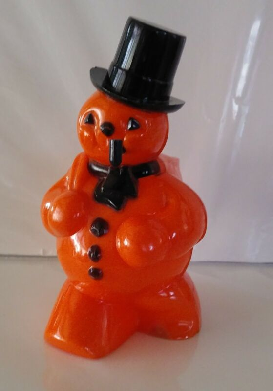 Vintage Halloween Rosbro Snowman Hard Plastic Candy Container 1950s Great Cond.